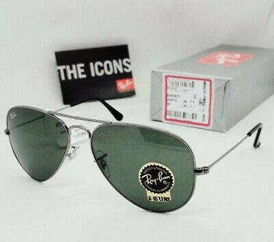 "RAY BAN gunmetal/green ""CLASSIC AVIATOR"" RB3025 W0879 58 mm sunglasses! NEW!"