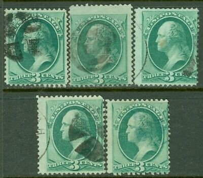 EDW1949SELL : USA 1870 Scott #136. 5 stamps. Used. All Sound. Catalog $162.50.