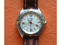 Breitling 18K GOLD 3 Time Zones GMT Antares World Automatic White Dial