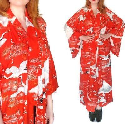 Vtg Japanese Wedding Kimono Robe Uchikake Bridal Wear Cranes in Flight Mt Fuji for sale  Shipping to Canada