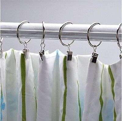 40PCS Stainless Steel Window Shower Curtain Rod Clips Hook Clips Nickle Dia2