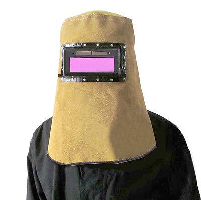 New Leather Helmet Mask W Solar Auto Darkening Filter Lens Welder Welding Hood