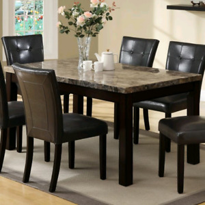 Marble stone dinner table + 6 chairs set sale