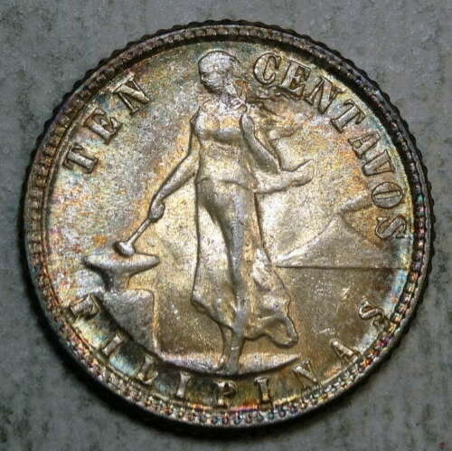 U. S. Philippines 10 Centavo 1945-D, Uncirculated, Nice Color, Toning  1008-95