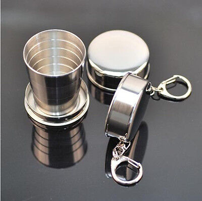 New Creative Telescopic Collapsible Stainless Steel Shot Glass Key Ring Unique
