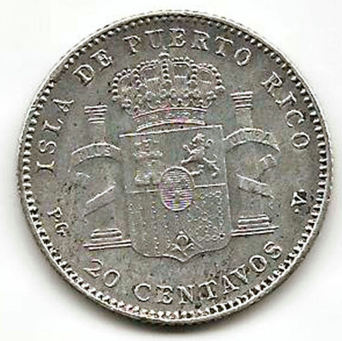 Alfonso Xiii 20 Cents. 1895 Port Rico @@ Very Beautiful @@