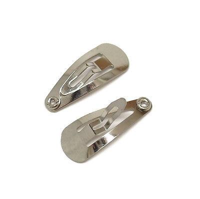 "100 Mini Snap Clips Silver Metal Click Hair Bow Baby Small DIY Bulk 22mm 7/8"""