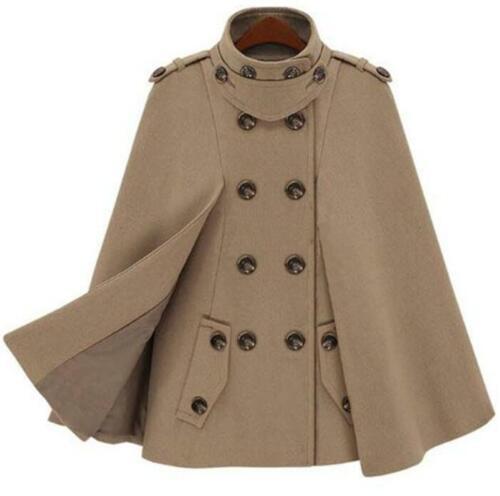 Chic Womens Lapel Double-breasted Cloak Cape Coat Jacket Warm Slim Wool Outwear