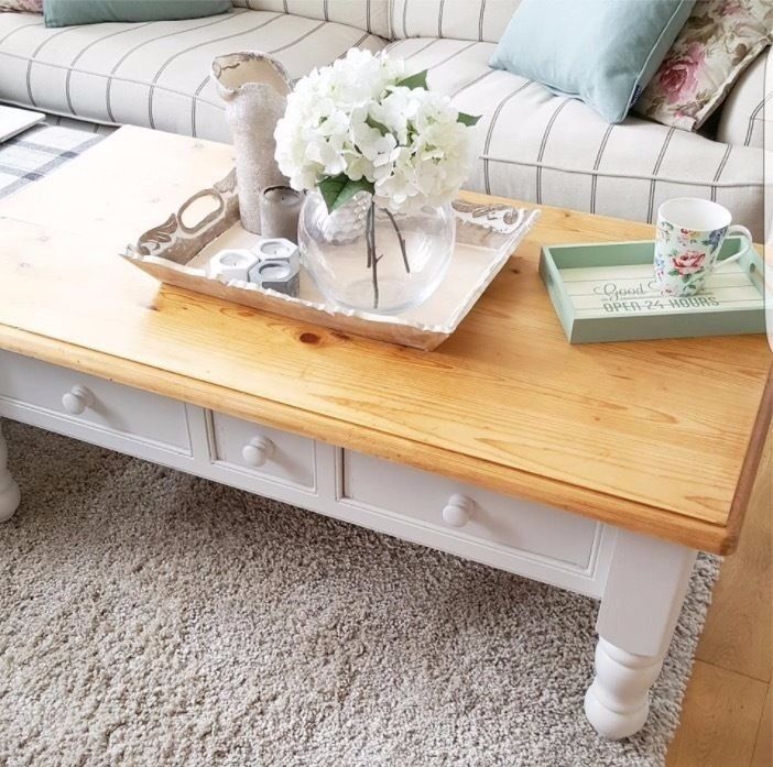 Large farmhouse chunky pine coffee table with 3 drawers for Large chunky coffee table