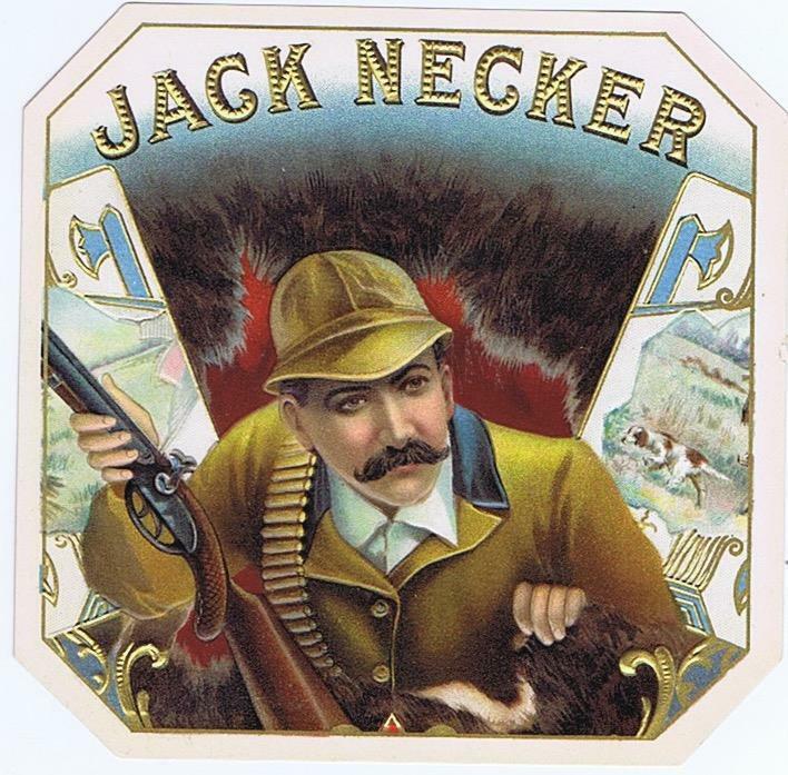 Jack Necker   original outer cigar box label hunter with dog