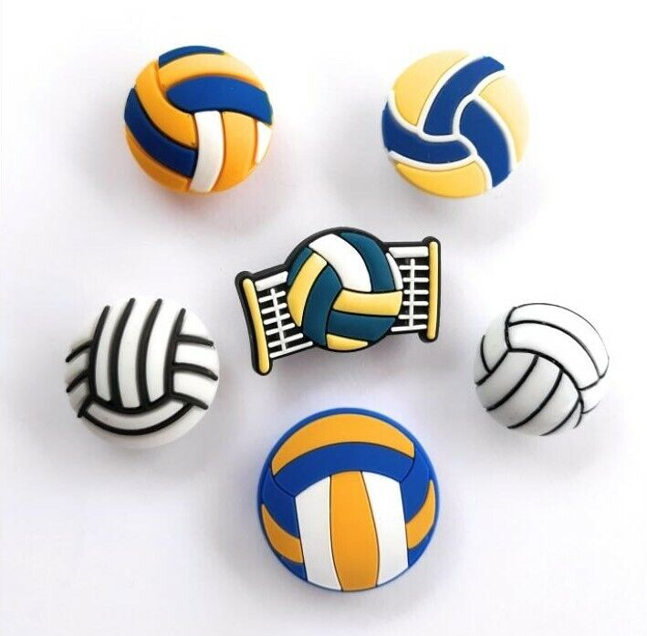 6pcs 3d and flat volleyball shoe charms