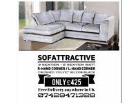 Sofa left hand corner sofa silver crush velvet