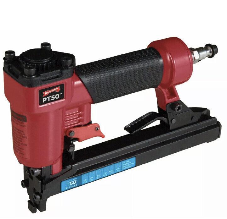 ARROW Pneumatic Stapler,Steel,Adjustable, PT50, Red