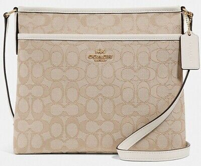 NWT Coach F29960 Signature Zipper File Crossbody Handbag Light Khaki/Chalk