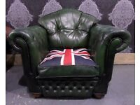 Fantastic Chesterfield Club Chair in Green Leather with Union Jack - Uk Delivery