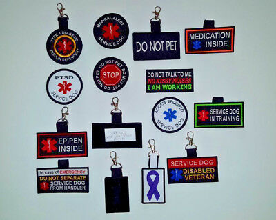 Service Dog Swivel Fob, Zipper Pull, Emergency Medical Info, Hanging Tab, No Sew Fob Zipper Pull