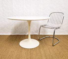Vintage mid century Arkana white tulip dining table