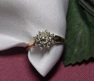 "10kt yellow gold ""Diamond  Flower Cluster"" Engagement Ring"