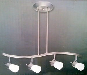 NEW!  4 HEAD SUSPENDED TRACK LIGHT IN BRUSHED STEEL AND CHROME