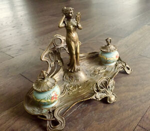 Rare Art Nouveau Lady Bronze Inkwell 1906
