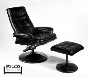NEW ★ Relaxing Chair + Ottoman ★ Can Deliver ★ Bonded Leather