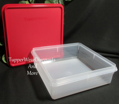 Tupperware Square Snack Stor Cookie Keeper Prep Essentials Storage Container Red