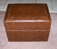 BROWN VINTAGE RECORD HASSOCK