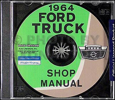 1964 Ford Pickup Truck Shop Manual CD ROM F100 F250 F350 Repair Service