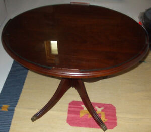Antique Coffee Table Wood With Glass Top
