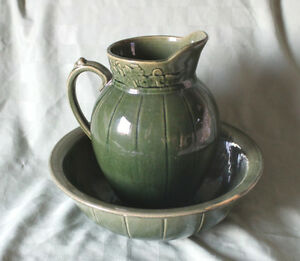 RARE Brantford Pottery Stoneware signed Pitcher & Bowl
