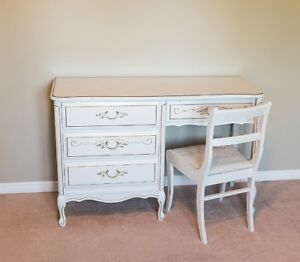 Antique Style White Desk and Chair