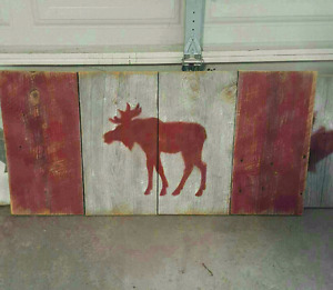 Moose/Canada barn board flags