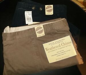 2 Pair Men's Weathered Chinos Pants W40 L34 (New, 100% Cotton)