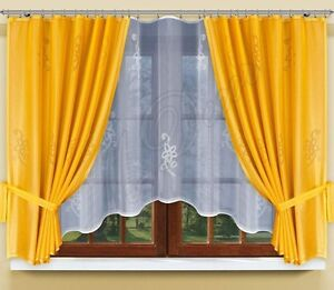 modern jacquard set net curtains with curtain tape white gold ebay. Black Bedroom Furniture Sets. Home Design Ideas