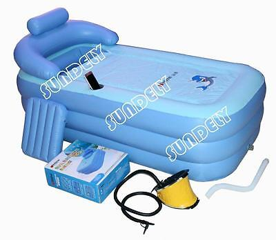 Adult PVC folding Portable bathtub inflatable bath tub Air Pump Express ship UK