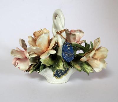 Vintage Mollica Porcelain Flower Bouquet Basket by Capodimonte Italy