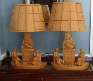 Vintage Hand Carved G. Fortin SignedTable Lamps Quebec Carver