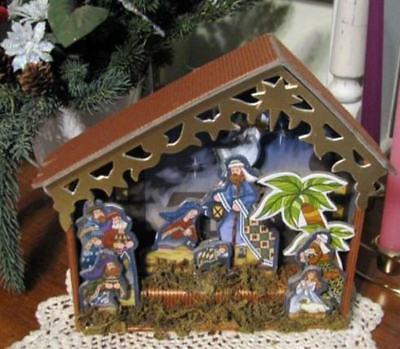 Nativity Set Child's 8x9 Shadowbox Tabletop Decor Layered Look Jim Shore Look - Child Nativity Set