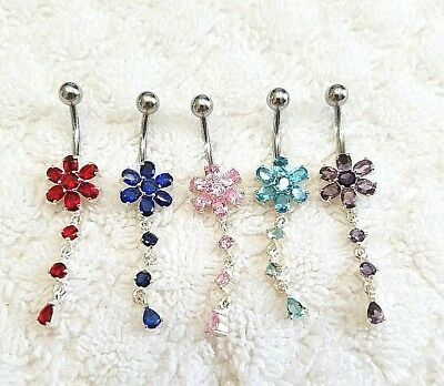 925 Sterling Silver Cubic Zircon Flower Curved Surgical Spinal Navel Belly Ring 925 Sterling Silver Belly Ring