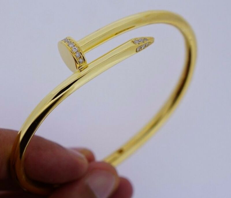 0.50 Carat Twisted Nail Bracelet 10k Solid Gold Thick 55 Grams Yellow Gold Asaar