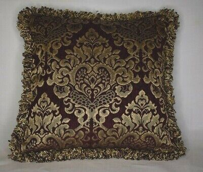 large wine gold fringe velvet decorative throw pillow for sofa or couch