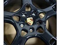 Porsche 76mm Wheel Centres Black or Silver set of 4