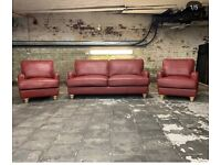 BRAND NEW Designer 'Wilmslow' Red Leather 3 Seater + Armchair + Armchair Suite