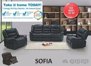 Recliner PU Leather Black/OfWhite Sofa 3RR/2RR/1R-PICKUP/DELIVER Salisbury Brisbane South West Preview