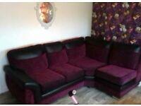 Left hand corner sofa 4 month old plum and black