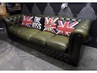 Stunning Vintage 70s Chesterfield 4 Seater Sofa Olive Green Leather Delivery