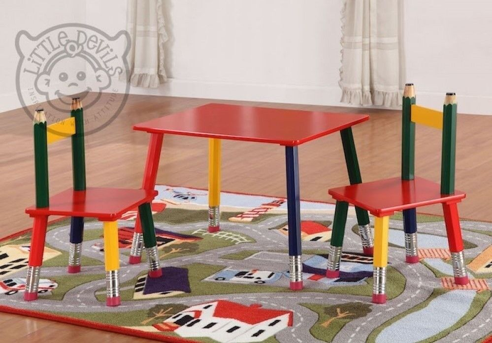 Little Devil Timber Pencil Childrenu0027s Table And 2 Chair