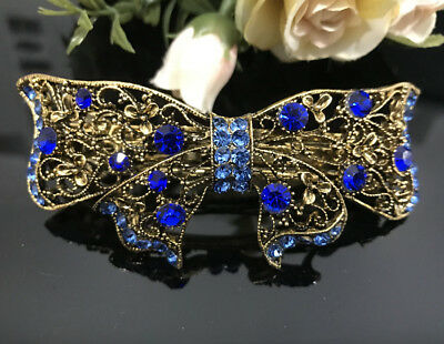 USA seller Antique Gold Tone Flower Rhinestone Blue Color Hair Clip Barrette ha2 (Gold Tone Flower Clip)