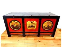 BEAUTIFUL RARE EARLY 19TH CENTURY CHINESE QING DYNASTY HAND PAINTED STORAGE CHEST GANSU PROVINCE