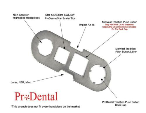 Universal Back Cap Wrench For STAR/MIDWEST/Lares/NSK/Impact Air Dental Handpiece